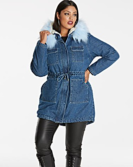 Lux Denim Parka with Contrast Fur