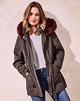 Value Parka with Burgundy Fur Trim