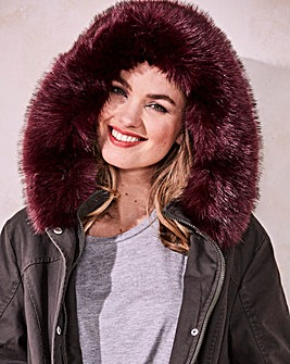 Value Parka with Burgundy Faux Fur Trim