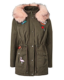 Badge Parka With Fur Trim