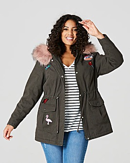 Badge Parka With Faux Fur Trim