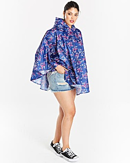 Navy Floral Pac-a-Poncho