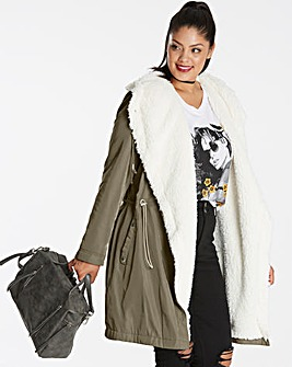Faux Shearling Lined Soft Parka