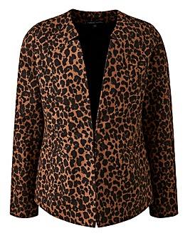 Leopard Print Twill Blazer