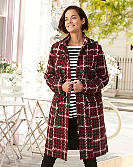 CHECK 3/4 DUFFLE COAT