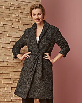 WOOL LOOK WRAP BELTED COAT