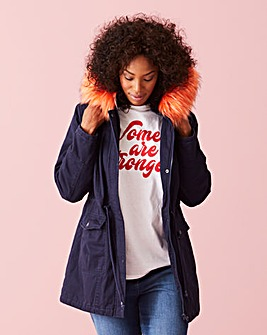 COLOURED FAUX FUR TRIM PARKA