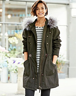 Plain Cotton Parka Coat