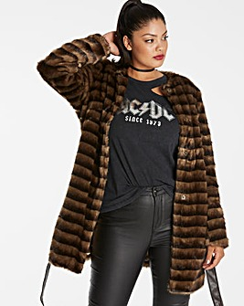 COLLARLESS BELTED FAUX FUR COAT