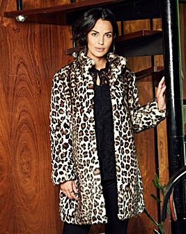Funnel Neck Leopard Faux Fur Coat