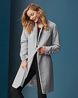 EMBROIDERED WOOL LOOK COAT