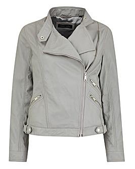 Pale Grey Leather Jacket