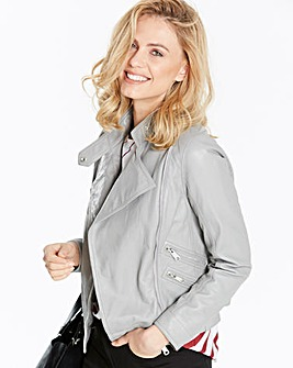 Pale Grey Leather Biker Jacket