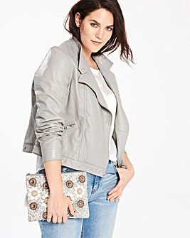 Pale Grey Leather Jacket