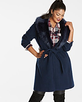 Wrap Faux Fur Collar Jacket