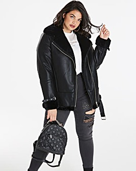 Luxe PU Aviator Coat
