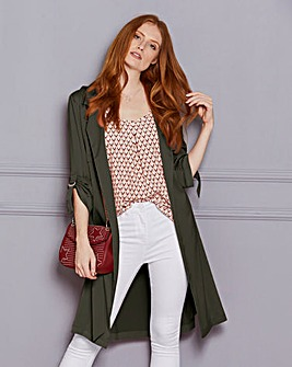 Longline Duster Coat with Ring Detail