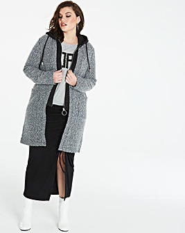 Textured Wool Look Coat With Knit Inner