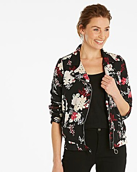 Print Lightweight Biker Jacket