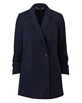 Petite Ruched Sleeve DB Blazer