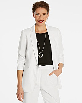 Smart Linen Blazer with Metal Fastening