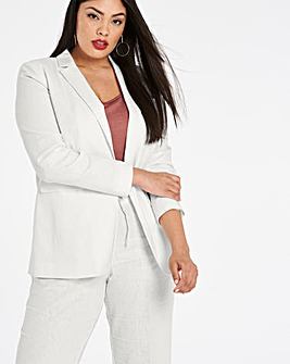 Linen Rich Blazer with Metal Fastening