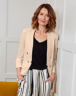Ruched Sleeve Edge to Edge Blazer