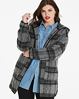 Hooded Check Wool Look Coat