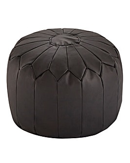 Faux Leather Moroccan Pouffe