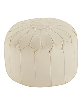 Faux Leather Moroccan Pouffe