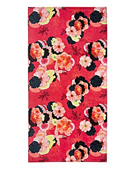 Coral Floral Beach Towel