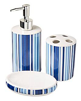 Oslo Stripe Ceramic 3Piece Accessory Set