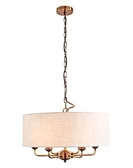 Imogen 6 Light Fitted Ceiling Chandelier