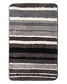 Oslo Stripes Bath Mat Black & White