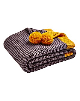 Yasmin Knitted Throw with Pom Poms