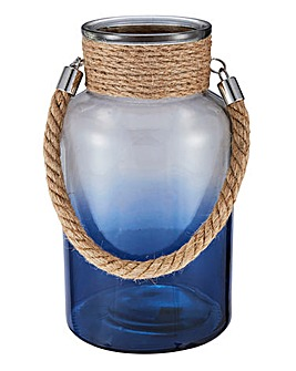 Ombre Blue Lantern with Rope Handle