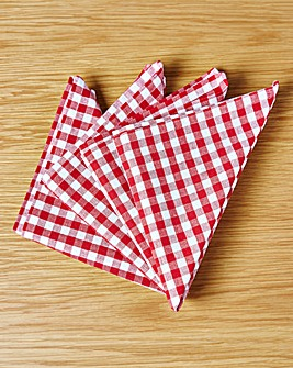 Gingham Check Set of 4 Napkins Red