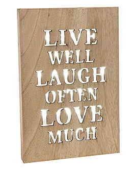 Live Laugh Love Light up Wall Plaque