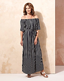Navy/Ivory Stripe Bardot Dress