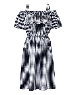 Gingham Bardot Embroidered Dress