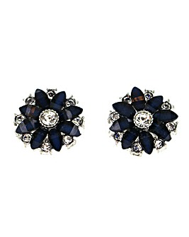 Round Flower Clip Earring