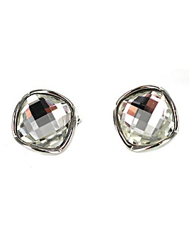 Square Glass stone Clip Earring