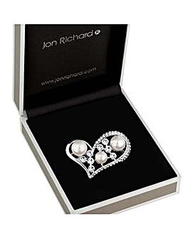 Jon Richard crystal pearl heart brooch