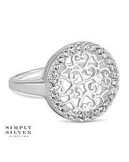 Simply Silver pave cut out disc ring