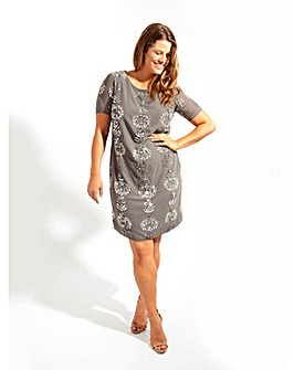 Lovedrobe Luxe Grey Sequin Shift Dress