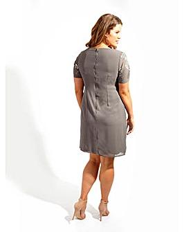 Lovedrobe Luxe Grey Sequin Shift Dress