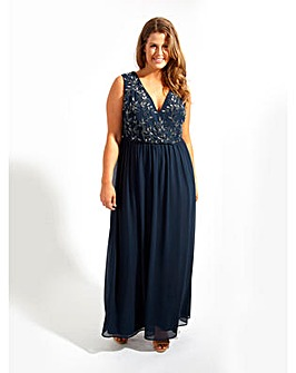 Lovedrobe Luxe Navy Wrap Maxi Dress