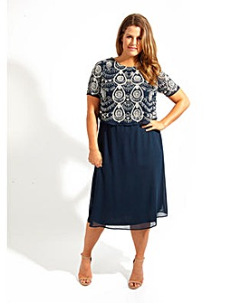 Lovedrobe Luxe Navy Double Layer Dress