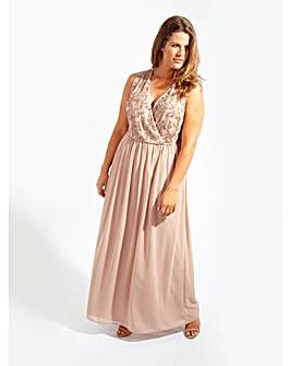 Lovedrobe Luxe Mink Wrap Maxi Dress