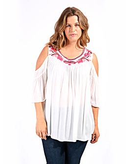 Koko Embroidered Ruffle Blouse